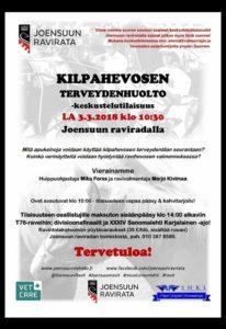 Kilpahevosen terveydenhuolto-keskustelutilaisuus Joensuun raviradalla la 3.3. klo 10.30